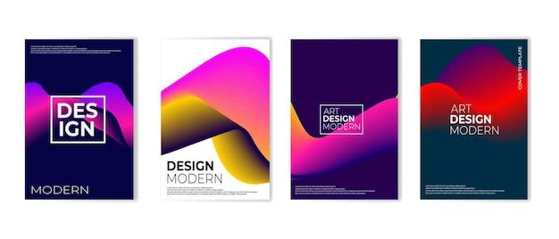 最小限のベクトルカバーデザインのセット将来のポスターテンプレート