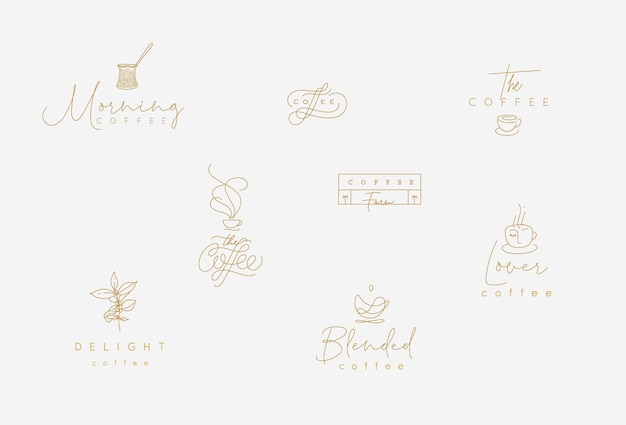 Набор минимализма современных кофейных элементов, рисующих в стиле плоской линии на бирюзовом фоне