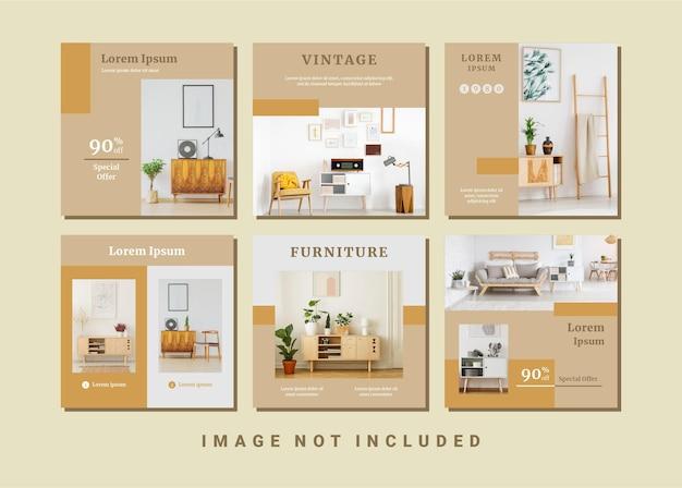 Набор минимализма винтажная мебель шаблон сообщения в социальных сетях instagram