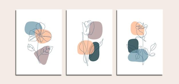 咲く花のラインアートとミニマリストの抽象的な背景のセット