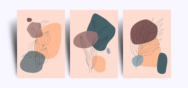 花のラインアートとミニマリストの抽象的な背景のセット
