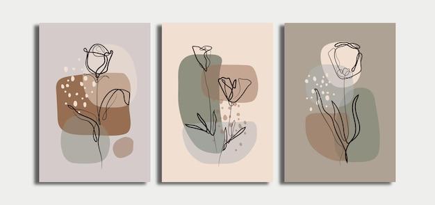 ラインアートの花とミニマリストの抽象的な背景のセット
