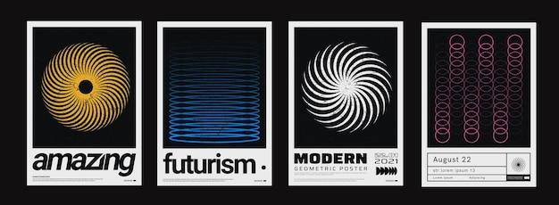 최소한의 추상 포스터 세트입니다. 메타 모던 커버. 스위스 디자인 패턴입니다. 미래의 기하학적 구성입니다. 바우하우스 작품.