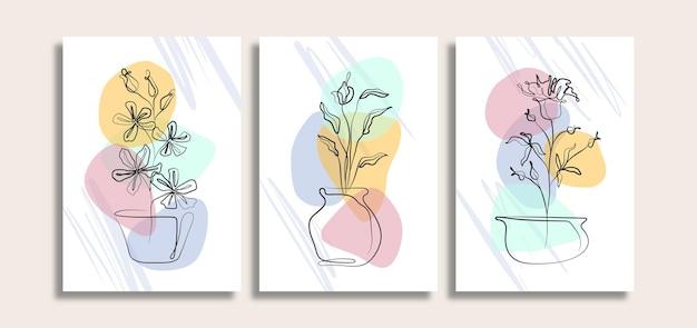 꽃과 미니멀리스트 추상 벽 예술 세트