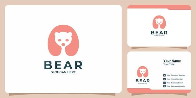 ミニマリストのクマのロゴと名刺のセット