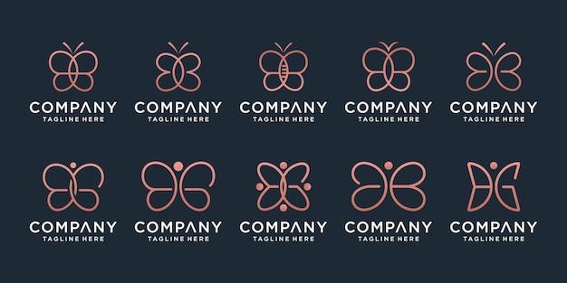 라인 아트 스타일의 미니멀한 나비 로고 디자인 세트. 뷰티, 럭셔리 스파 스타일.