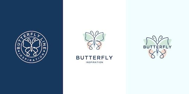 ミニマリストの蝶のロゴのインスピレーションのセット