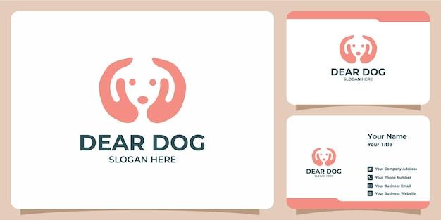 ミニマリストの犬のロゴと名刺のセット