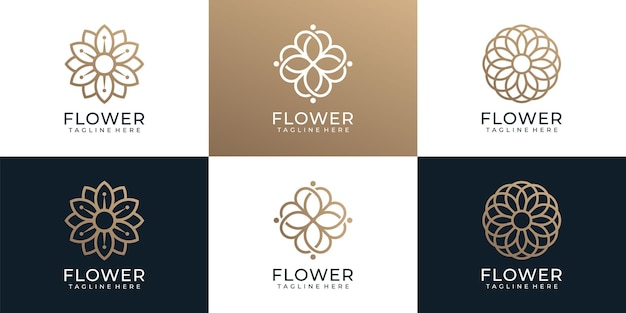 Набор минималистского модного орнамента с логотипом цветок спа йога
