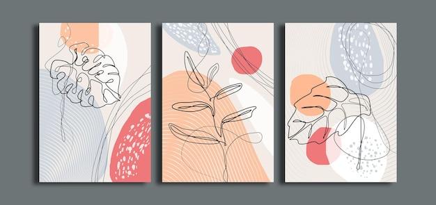 ミニマリストの花のラインアートの壁の芸術のセット