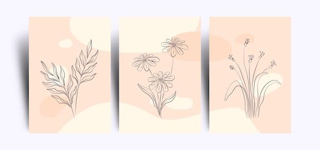 라인 아트 스타일로 미니멀리스트 꽃 무늬 벽지 세트