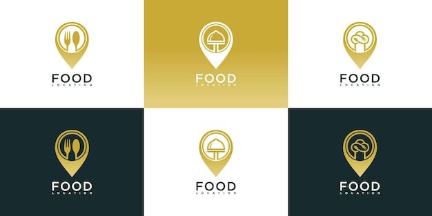 미니멀한 음식 위치 로고 디자인 컬렉션 프리미엄 벡터 세트