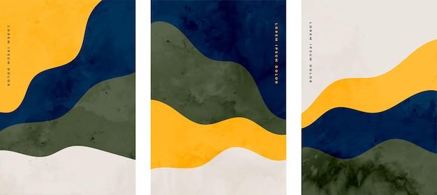 ミニマリストの手描きの抽象的な波状デザインのセット