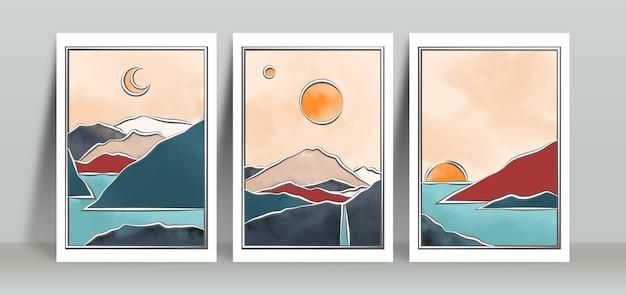 マウンテンビューとミニマリストの風景の背景のセット
