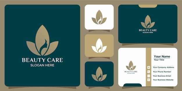 Набор минималистичных логотипов цветов лотоса и визитных карточек