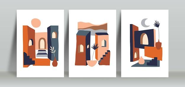 미니멀리즘 중반 세기 벽 예술 포스터 세트