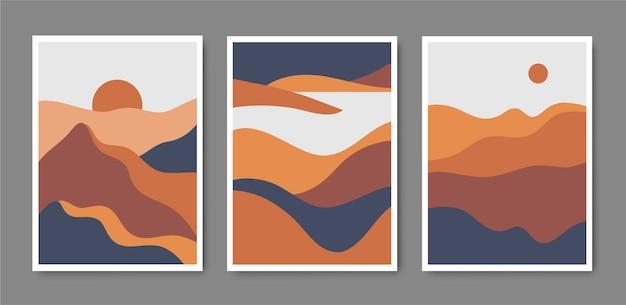 Набор минималистичных горных пейзажей, рамок