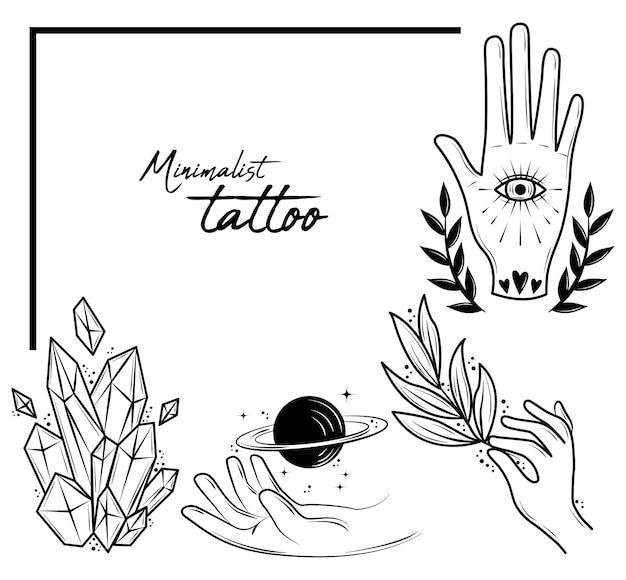 ミニマリストの入れ墨のセット