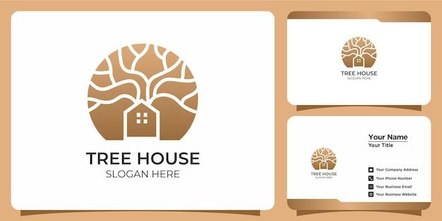 Набор минималистских логотипов домика на дереве и визитных карточек