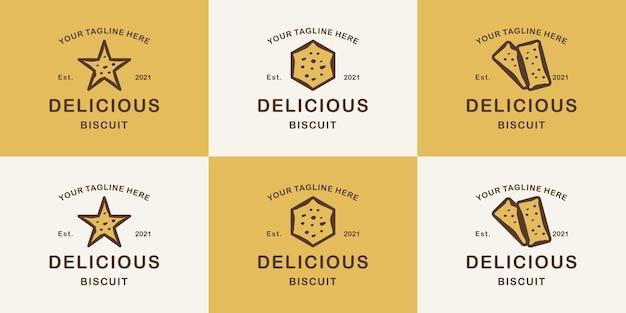 Набор минималистского винтажного дизайна логотипа печенья