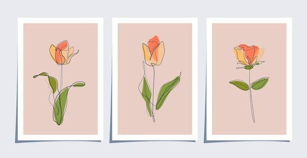 단일 라인 아트 꽃과 미니멀리스트 벽지 세트