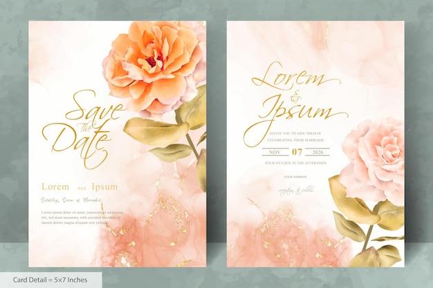 水彩手描き花とミニマリストの結婚式の招待カードテンプレートのセット