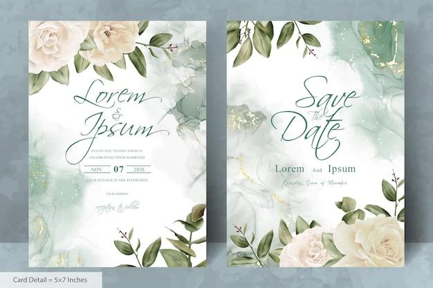 Набор минималистских шаблонов свадебного приглашения карты с акварельной рисованной цветочные