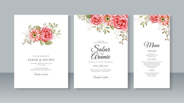 水彩画の花の絵とミニマリストの結婚式の招待カードテンプレートのセット Premiumベクター