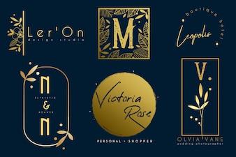 Набор минималистичных золотых ботанических шаблонов логотипа
