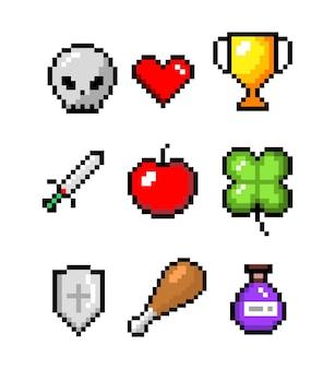 Набор минималистичный пиксель арт векторных объектов изолированы. меч, монета, зелье, сердце.
