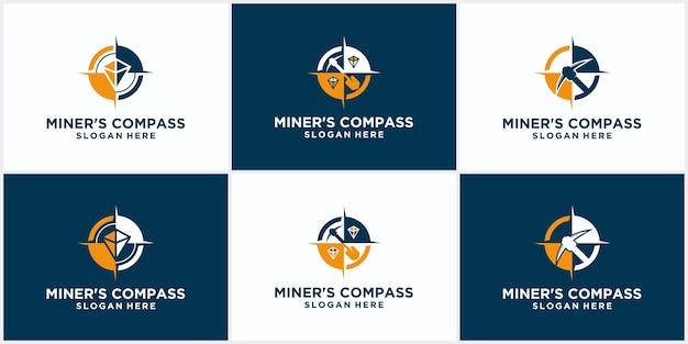 Набор шаблонов логотипа добычи с концепцией компаса. стильная монохромная векторная иллюстрация. шаблон логотипа горной промышленности с концепцией компаса.
