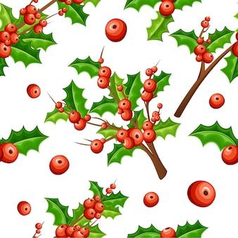 Набор украшения омелы. филиалы с красными ягодами и зелеными листьями. бесшовный рождественский орнамент. иллюстрация на белом фоне.