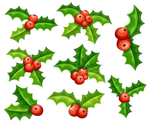 미 슬 토 장식 세트. 붉은 열매와 녹색 잎. 크리스마스 장식. 흰색 배경에 그림
