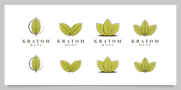Набор дизайн логотипа коллекции листьев mitragyna speciosa kratom