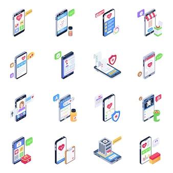 Набор изометрических иконок мобильных приложений здравоохранения
