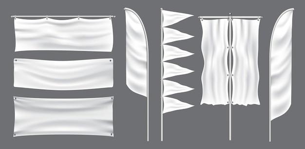 屋外イベントでの装飾用のモックアップフラグまたはテキスタイルバナーフラグのセット。 epsベクトル