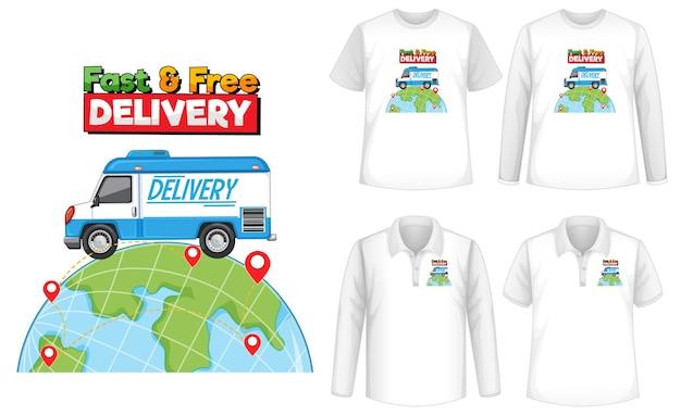 Набор макета рубашки с темой доставки