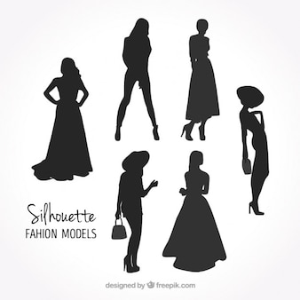 Set of model silhouettes