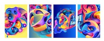 Набор современных абстрактных красочных векторных плакатов фона