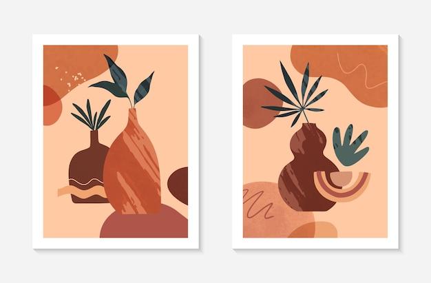 꽃병, 유기 다양한 모양 및 잎이 있는 현대적인 추상 벡터 삽화 세트. boho 수채화 벽 예술 장식입니다. 배너, 소셜 미디어, 표지, 벽지에 적합한 트렌디한 예술적 디자인입니다.