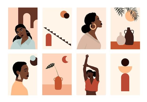현대 아프리카 계 미국인 여자의 얼굴 초상화