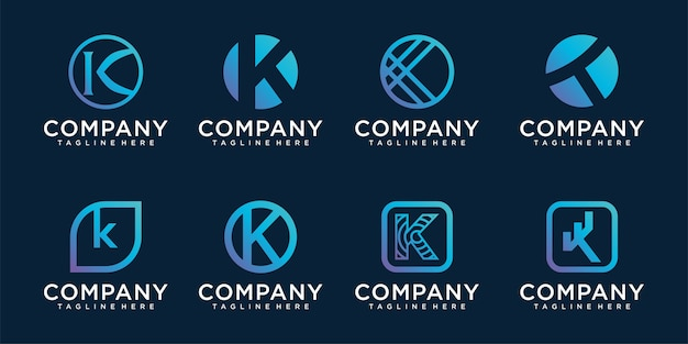 現代アルファベットロゴデザイン文字kベクトルテンプレートのセットです。