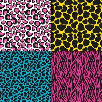 현대 동물 인쇄 패턴 세트