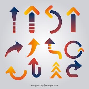 Set of modern arrows