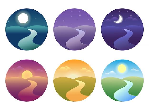그라디언트와 현대 아름 다운 풍경의 집합입니다. 일출, 새벽, 아침, 낮, 정오, 일몰, 황혼과 밤 아이콘.