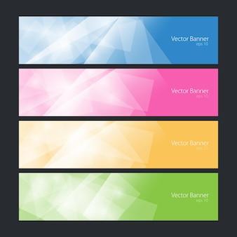현대 밝은 배너, 다채로운 다각형 배경, 벡터 일러스트 레이 션의 집합