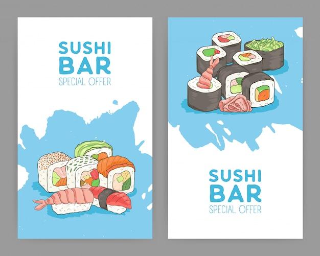Набор современных ярких цветных шаблонов флаер для азиатской кухни ресторана с аппетитными японскими суши и роллы на синем и белом фоне. специальное предложение рекламы. иллюстрации.