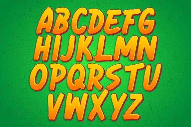 얇은 돌출이 있는 현대적인 브러시 알파벳 세트