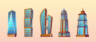 Set of modern buildings in cartoon style. Urban skyscrapers, town exterior.