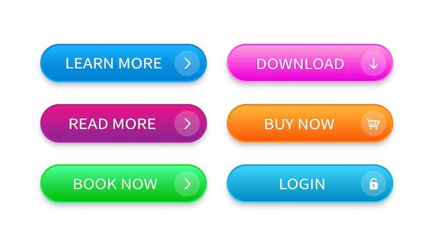 웹 사이트, 앱, 소프트웨어, 게임 및 ui를위한 현대 버튼의 설정. 최신 유행 웹 개념 요소입니다.